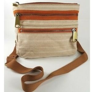 Fossil Explorer Fabric Crossbody with Leather Trim